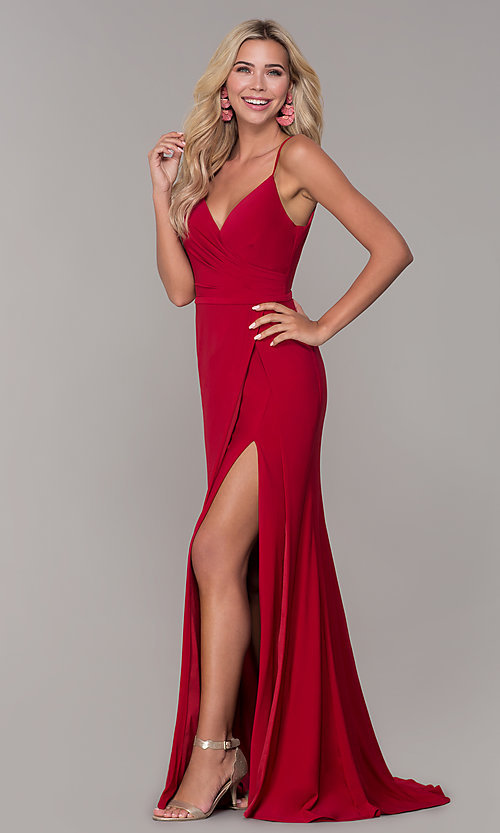 Image of long v-neck Dave and Johnny prom dress with slit. Style: DJ-A7074 Detail Image 3