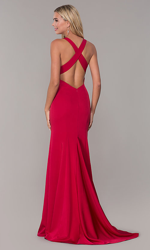 Image of long prom dress with cross-crossing back straps. Style: DJ-A7113 Back Image