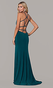 Image of high-neck long open-back Dave and Johnny prom dress. Style: DJ-A7149 Detail Image 3