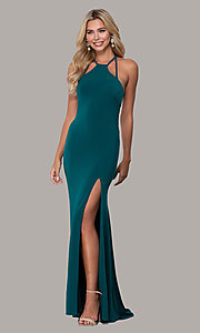 Image of high-neck long open-back Dave and Johnny prom dress. Style: DJ-A7149 Detail Image 6