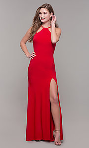 Image of high-neck long open-back Dave and Johnny prom dress. Style: DJ-A7149 Detail Image 7