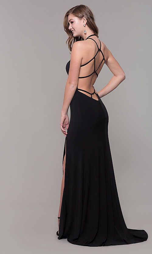 Image of high-neck long open-back Dave and Johnny prom dress. Style: DJ-A7149 Front Image