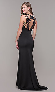 Image of long formal high-neck prom dress with strappy back. Style: DJ-A7289 Detail Image 5