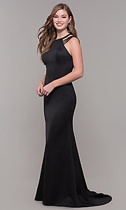Image of long formal high-neck prom dress with strappy back. Style: DJ-A7289 Detail Image 8