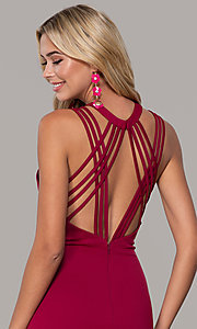 Image of long formal high-neck prom dress with strappy back. Style: DJ-A7289 Detail Image 2