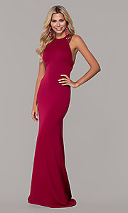 Image of long formal high-neck prom dress with strappy back. Style: DJ-A7289 Detail Image 3
