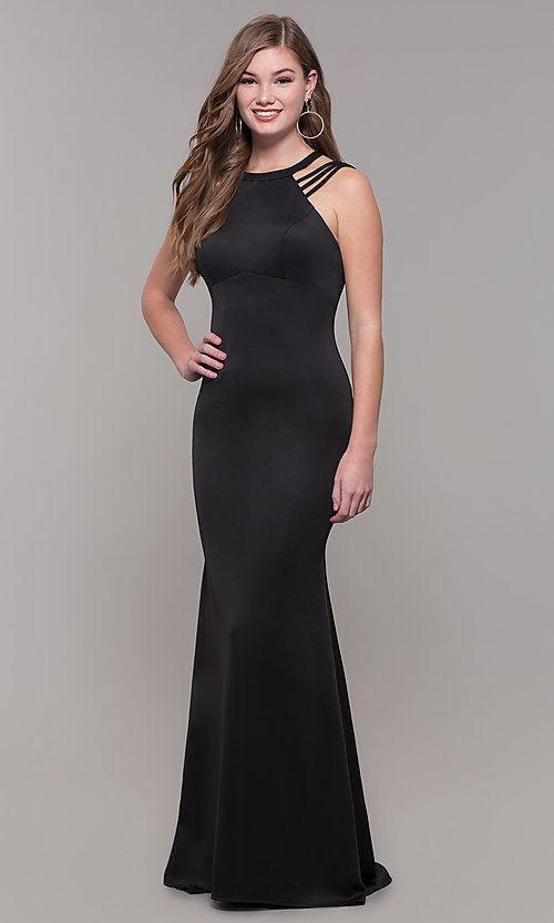 Image of long formal high-neck prom dress with strappy back. Style: DJ-A7289 Detail Image 4