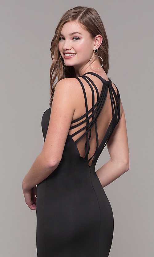 Image of long formal high-neck prom dress with strappy back. Style: DJ-A7289 Detail Image 7