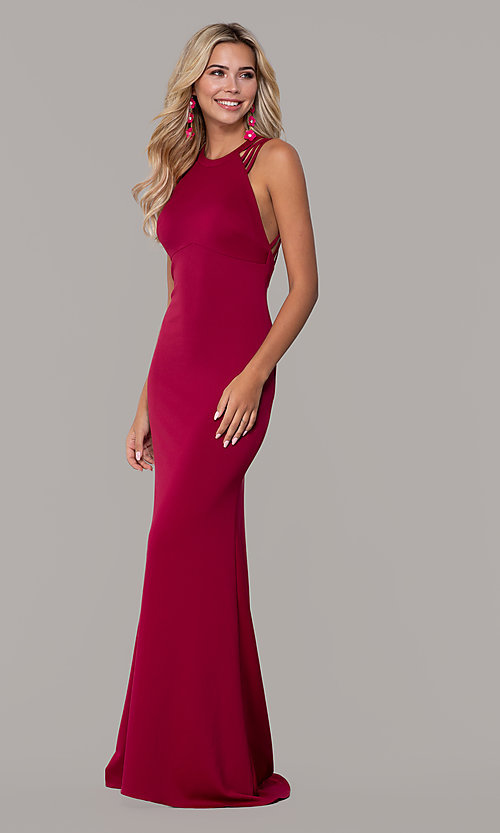 Image of long formal high-neck prom dress with strappy back. Style: DJ-A7289 Front Image