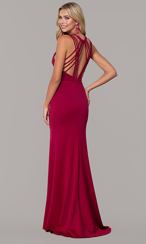 Image of long formal high-neck prom dress with strappy back. Style: DJ-A7289 Back Image