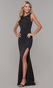 Image of long Dave and Johnny prom dress with v-back. Style: DJ-3970 Front Image