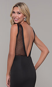 Image of long Dave and Johnny prom dress with v-back. Style: DJ-3970 Detail Image 2