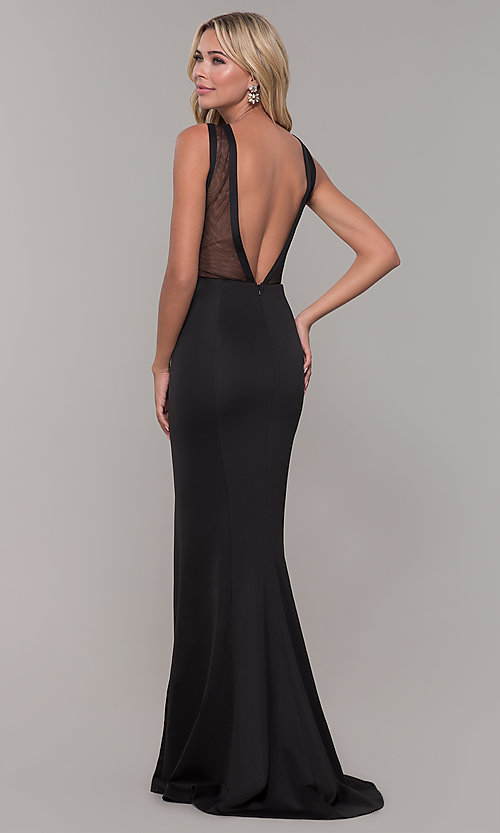 Image of long Dave and Johnny prom dress with v-back. Style: DJ-3970 Back Image