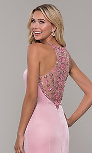 Image of long metallic mauve pink prom dress with beads. Style: DJ-A7800 Detail Image 2