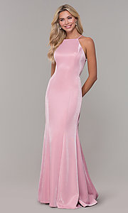 Image of long metallic mauve pink prom dress with beads. Style: DJ-A7800 Detail Image 3
