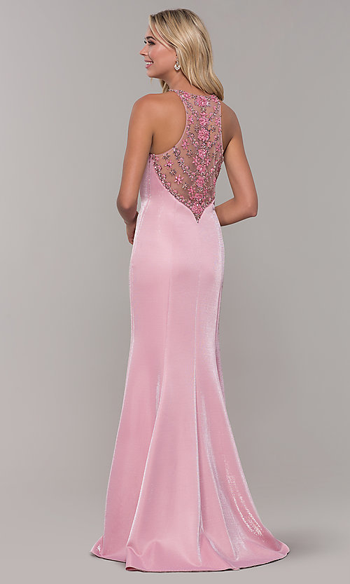 Image of long metallic mauve pink prom dress with beads. Style: DJ-A7800 Back Image