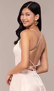 Image of long backless prom dress by Dave and Johnny. Style: DJ-A7956 Detail Image 2