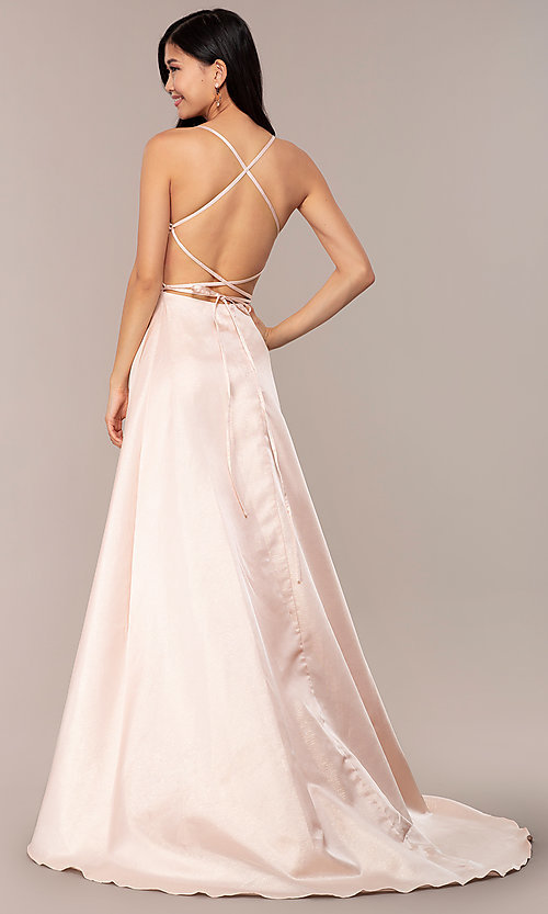 Image of long backless prom dress by Dave and Johnny. Style: DJ-A7956 Back Image