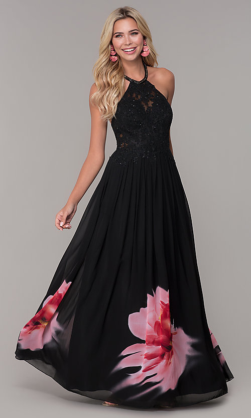 Image of high-neck long black floral-print prom dress. Style: DJ-A7680 Front Image