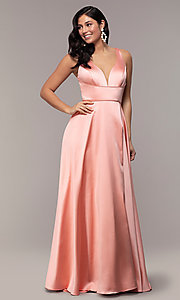 Image of long red v-neck prom dress with side slit. Style: DJ-A7454 Detail Image 4