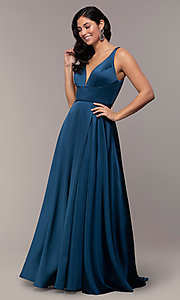 Image of long red v-neck prom dress with side slit. Style: DJ-A7454 Detail Image 6