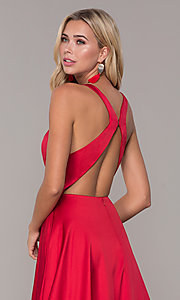 Image of long red v-neck prom dress with side slit. Style: DJ-A7454 Detail Image 2