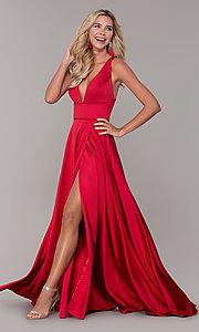 Image of long red v-neck prom dress with side slit. Style: DJ-A7454 Detail Image 3