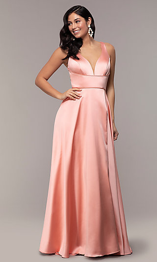 f603874a76799 Long Red V-Neck Prom Dress with Side Slit