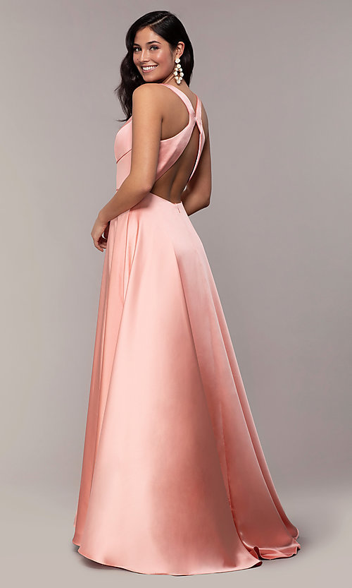 Image of long red v-neck prom dress with side slit. Style: DJ-A7454 Detail Image 5