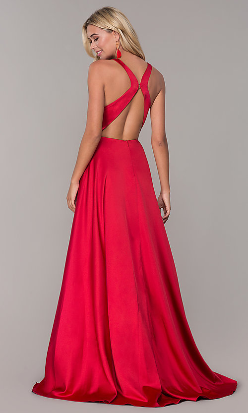 Image of long red v-neck prom dress with side slit. Style: DJ-A7454 Back Image
