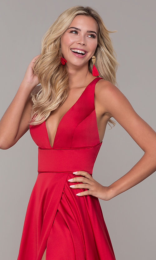 Image of long red v-neck prom dress with side slit. Style: DJ-A7454 Detail Image 1