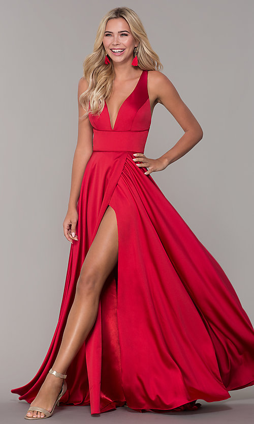 e93b5f19f2981 Image of long red v-neck prom dress with side slit. Style: DJ
