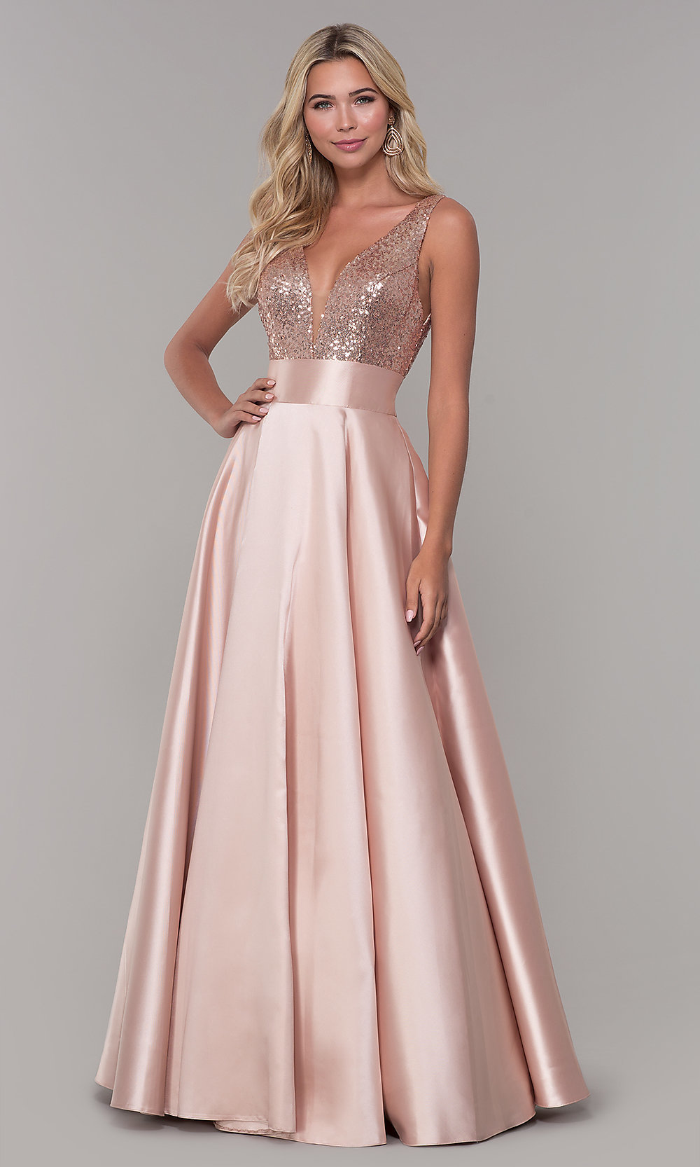 a924c1f272b Designer Long Prom Dress with Sequin Bodice - PromGirl