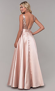 Image of Dave and Johnny long prom dress with sequin bodice. Style: DJ-A7240 Back Image