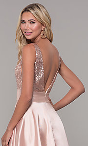 Image of Dave and Johnny long prom dress with sequin bodice. Style: DJ-A7240 Detail Image 2