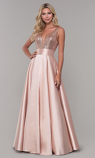 67daa9ee1b8 Dave and Johnny Long Prom Dress with Sequin Bodice