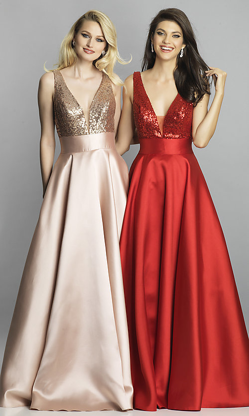 Image of Dave and Johnny long prom dress with sequin bodice. Style: DJ-A7240 Front Image