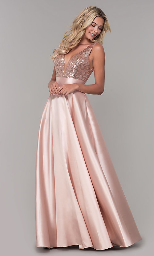 Image of Dave and Johnny long prom dress with sequin bodice. Style: DJ-A7240 Detail Image 3