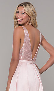 Image of Dave and Johnny long prom dress in blush pink. Style: DJ-A7420 Detail Image 2