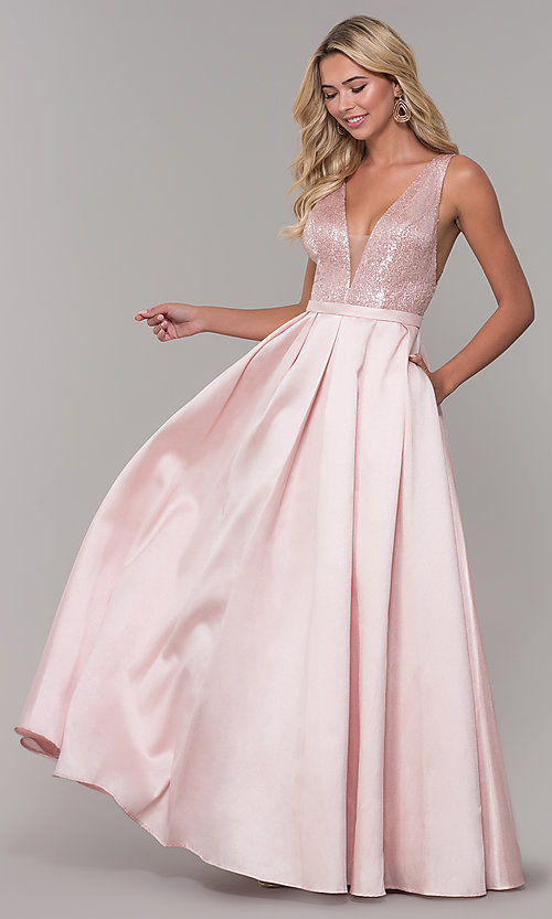 Image of Dave and Johnny long prom dress in blush pink. Style: DJ-A7420 Front Image