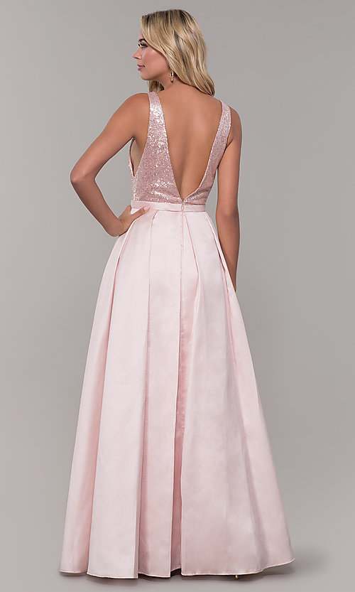 Image of Dave and Johnny long prom dress in blush pink. Style: DJ-A7420 Back Image