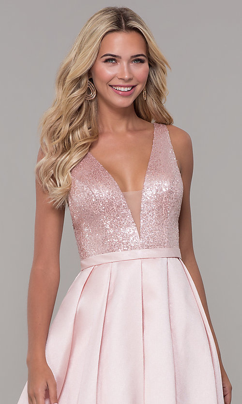 Image of Dave and Johnny long prom dress in blush pink. Style: DJ-A7420 Detail Image 1