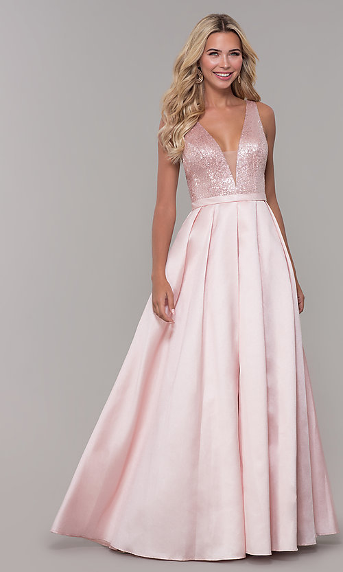 Image of Dave and Johnny long prom dress in blush pink. Style: DJ-A7420 Detail Image 3