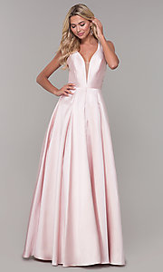 Image of long satin and tulle open-back prom dress with v-neckline. Style: DJ-A7156 Front Image