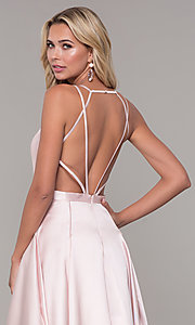 Image of long satin and tulle open-back prom dress with v-neckline. Style: DJ-A7156 Detail Image 2
