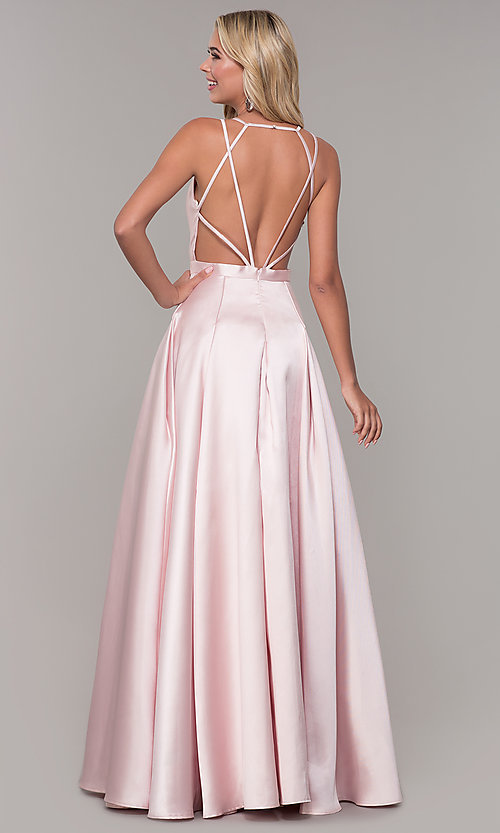 Image of long satin and tulle open-back prom dress with v-neckline. Style: DJ-A7156 Back Image