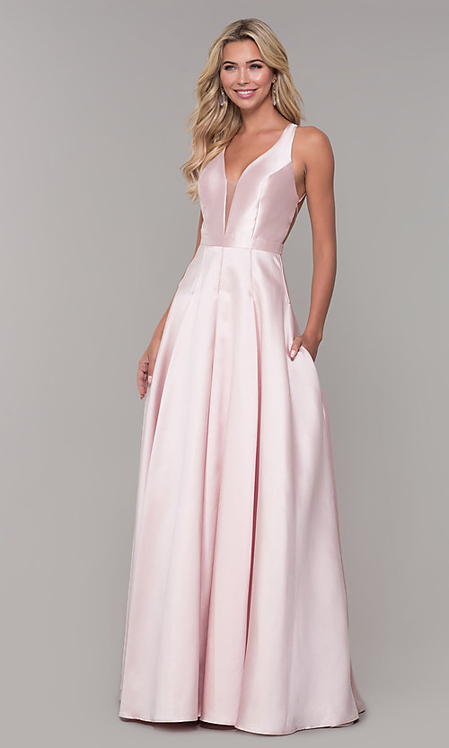 Image of long satin and tulle open-back prom dress with v-neckline. Style: DJ-A7156 Detail Image 3
