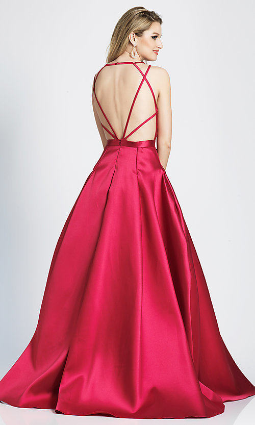 Image of long satin and tulle open-back prom dress with v-neckline. Style: DJ-A7156 Detail Image 5