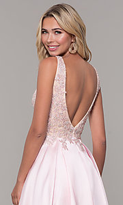 Image of long pink prom dress with embroidered bodice. Style: DJ-A6885 Detail Image 2