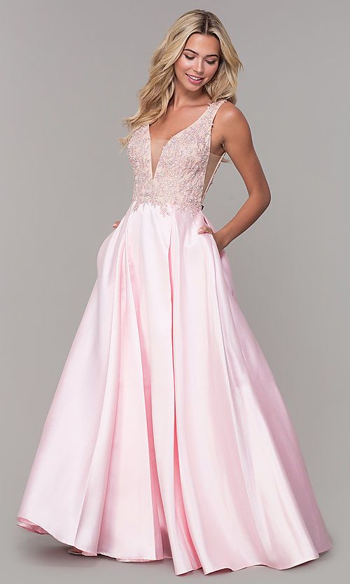 Image of long pink prom dress with embroidered bodice. Style: DJ-A6885 Front Image